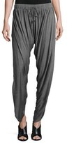 Haute Hippie Shirred Drawstring Harem Pants, Charcoal Heather