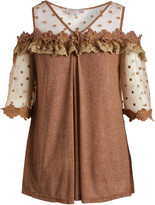 Pretty Angel Women's Tunics BROWN(BR) - Brown Sheer-Panel Embroidered Swing Tunic - Women