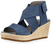Eileen Fisher Willow Perforated Nubuck Espadrille Sandal
