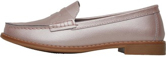 Onfire Womens Leather Penny Loafers Pearlised Pink