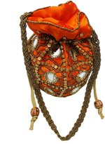 Peegli Traditional Satin Potli Bag Embroidered Orange Beaded Ethnic Evening Bag