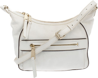 Lancel White Leather Front Pocket Shoulder Bag