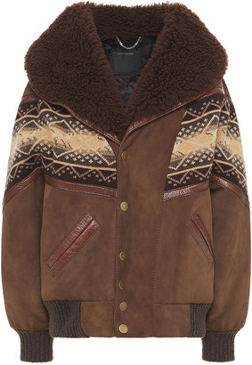 Marc Jacobs Shearling-trimmed Jacquard Knit-paneled Suede Jacket