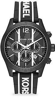Michael Kors Layton Black Stainless Steel & Embossed Silicone Strap Chronograph Watch
