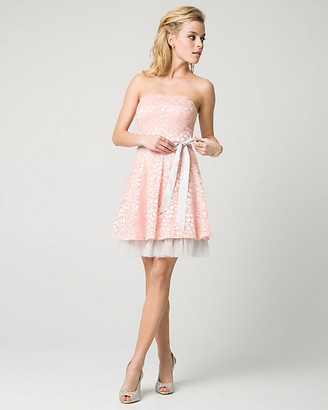 Le Château Lace & Mesh Strapless Party Dress