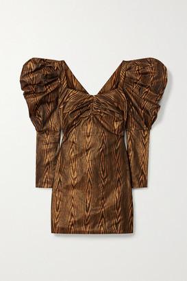 House of Holland Metallic Printed Taffeta Mini Dress - Copper