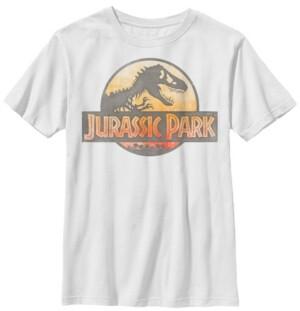 Fifth Sun Jurassic Park Big Boys Reddish Orange Safari Logo Short Sleeve T-Shirt