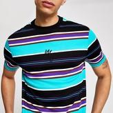 River Island Maison Riviera aqua stripe slim fit T-shirt