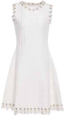 Oscar de la Renta Frayed Embroidered Boucle-tweed Dress
