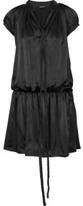 Ann Demeulemeester Tie-neck Gathered Silk-satin Mini Dress