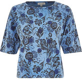 River Island Womens Blue floral spot print oversized boxy top