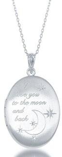 """La Preciosa 925 Sterling Silver Italian """"I Love You to the Moon & Back"""" Heart/Oval Locket 18"""" Pendant Necklace"""
