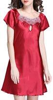 FLYCHEN Women's Sexy Lingerie Sleepwear Short Sleeve Nightgowns Sleepshirts XL