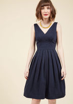ModCloth Emily and Fin Culminate in Charm Midi Dress in Navy in XXS