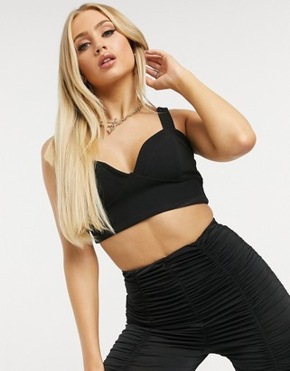Club L London bra detail crop top in black