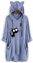 Cellabie CELLABIE Women's Tunics Blue - Blue Cat Pocket Hooded Tunic - Women & Plus