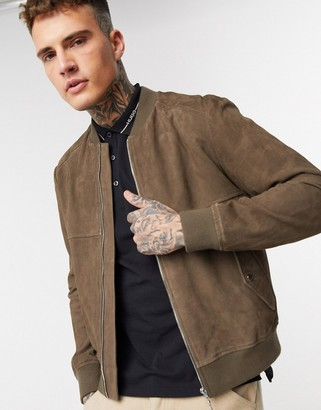 HUGO BOSS Laures suede bomber jacket in khaki