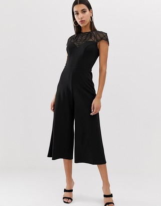 Lipsy culotte jumpsuit with embellished yoke in black