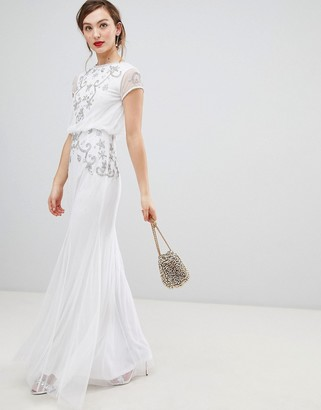 Frock and Frill Capped Sleeve Chiffon Overlay Maxi Dress With Embellished Detail-White