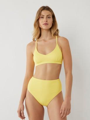 Warehouse Cross Back Ribbed Bikini Top - Yellow