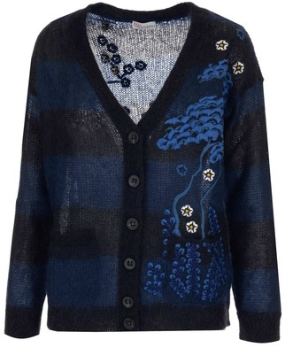 RED Valentino Oriental Toile De Jouy Embroidered Cardigan