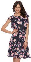 Elle Women's ELLETM Printed Flutter Fit & Flare Dress