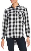 Kensie Monochrome Check Button-Front Shirt