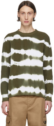 MSGM Green Tie-Dye Stripes Sweater