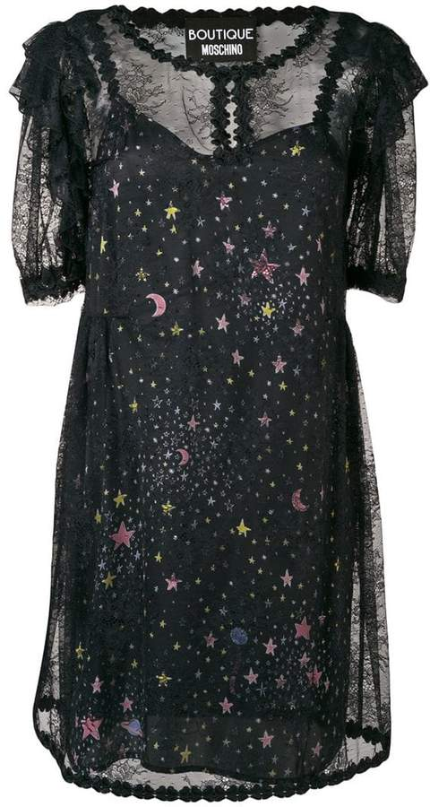 Moschino star print sheer dress