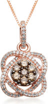 JCPenney FINE JEWELRY 1/3 CT. T.W. Champagne & White Diamond 10K Rose Gold Flower Pendant Necklace