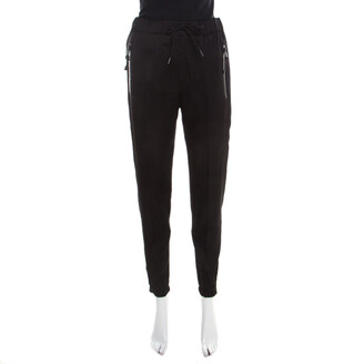 Prada Black Satin Drawstring Detail Jogger Pants S