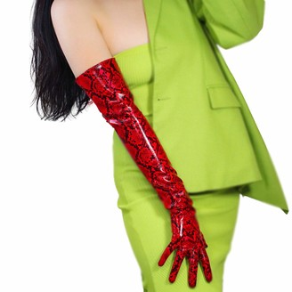 DooWay Latex Women Long Leather GLOVES PU Patent Snake Skin Print Opera Elbow Short Unrestrained Sexy Red - red - Medium