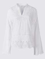 Per Una Pure Cotton Cutwork Bell Sleeve Blouse
