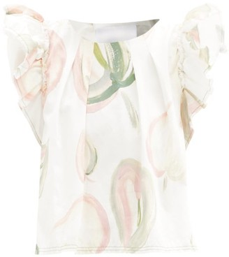 Aje Imprint Floral-print Cotton-poplin Top - White Print