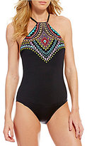 Laundry by Shelli Segal Antigua Dream Embroidered High Neck One-Piece
