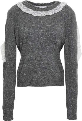Philosophy di Lorenzo Serafini Lace-trimmed Virgin Wool-blend Sweater
