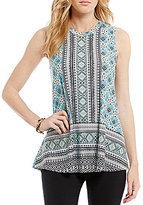 I.N. San Francisco Border Print Trapeze Top