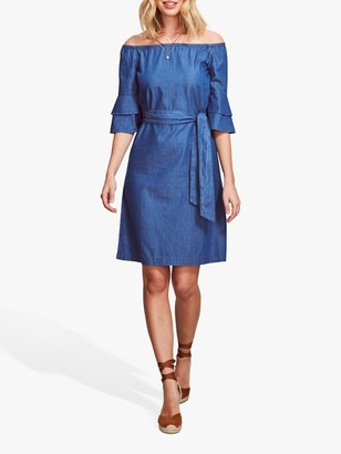 Sosandar Bardot Chambray Frill Sleeve Dress, Blue