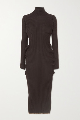 Bottega Veneta Ribbed Wool Turtleneck Midi Dress - Brown