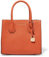 MICHAEL Michael Kors Mercer Messenger Textured-leather Tote - Bright orange