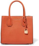 MICHAEL Michael Kors Mercer Messenger Textured-leather Tote - Bright orange
