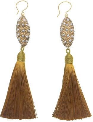 Farra Rhinestones Bordered Freshwater Pearls Golden Tassels Hook Earrings