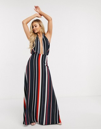 Girl In Mind cross front halterneck maxi dress in abstract stripe print