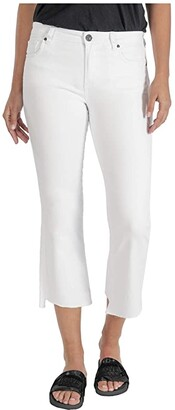 KUT from the Kloth Kelsey High-Rise Ankle Flare Step Raw Hem in Optic White (Optic White) Women's Jeans