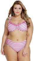 Sugarwewe Woman's Retro Bikini Set Plus Size Color stripes Detachable lined bra padding XXL