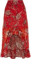 River Island Womens Red floral high-low maxi skirt
