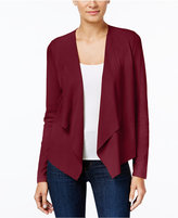 INC International Concepts Petite Faux-Moleskin Draped Cardigan, Only at Macy's