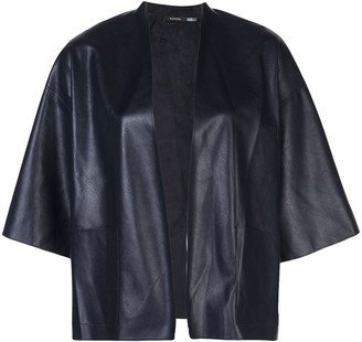 Natori Faux Leather Cropped Jacket
