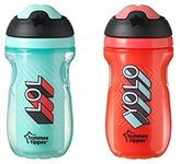 Tommee Tippee Insulated Sipper Tumbler, Teal and Red, 9 Ounce, 2 Count