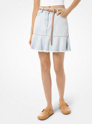 MICHAEL Michael Kors MK Flounce Denim Skirt - Stone Blue Wash - Michael Kors